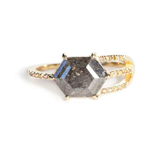 Jennie Kwon Hexagon Diamond Slice Half Cage Ring