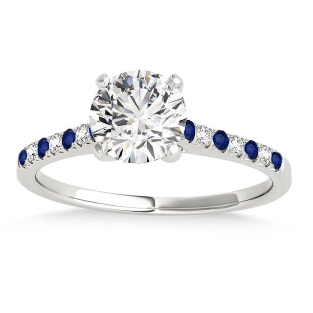 Allurez Diamond & Blue Sapphire Single Row Engagement Ring