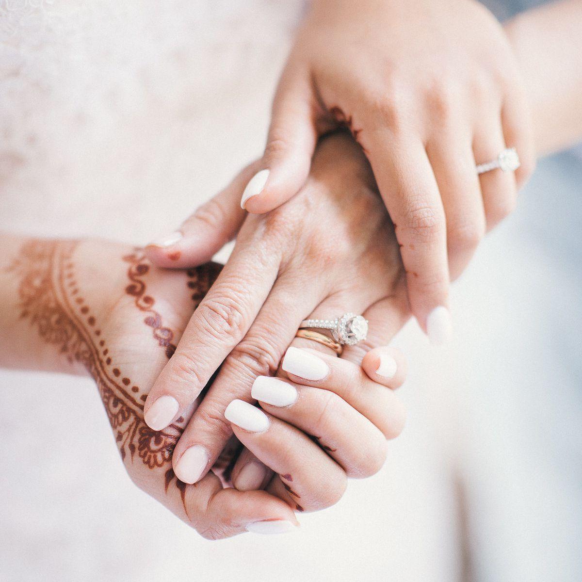 Bride with white nail polish