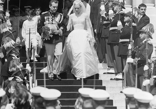 Prince Rainier and Grace Kelly leaving Monaco Cathedral following their wedding ceremony