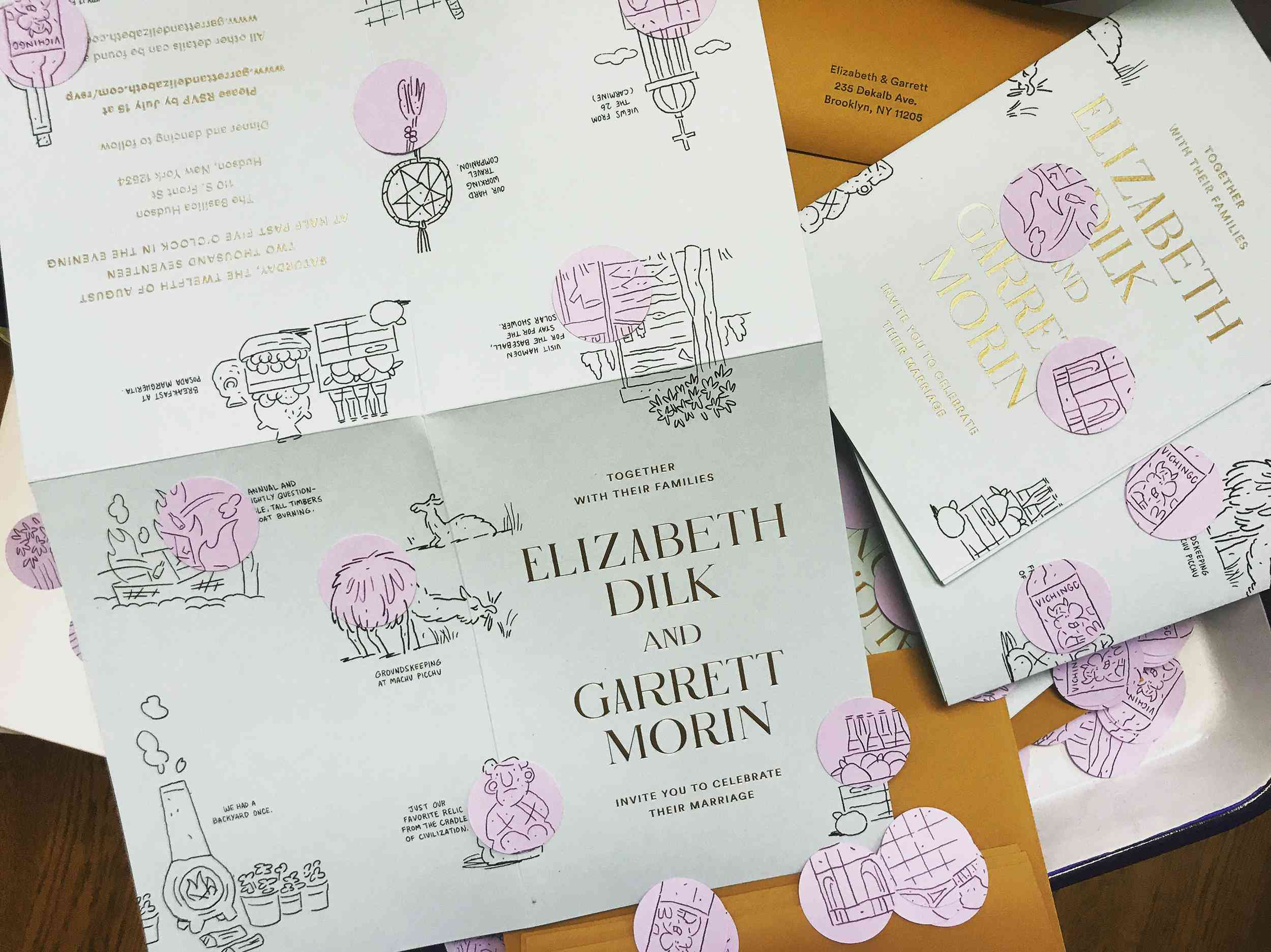 <p>invitations with illustrations and confetti</p><br><br>