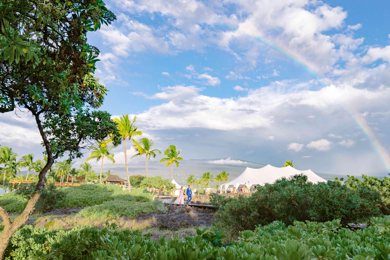 A double rainbow over the wedding site