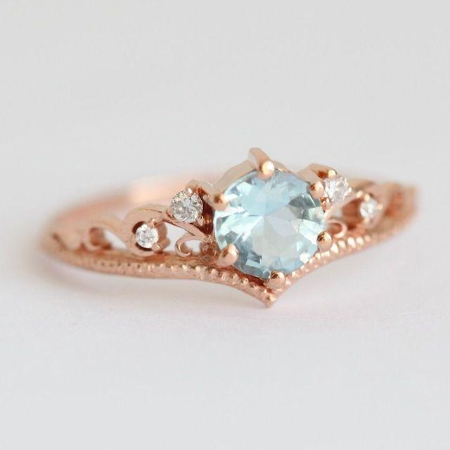 Bella Aquamarine Engagement Ring with Diamond Matching Band