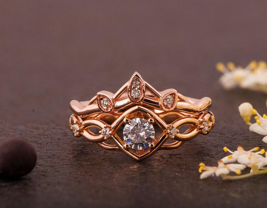 gold Celtic knot engagement ring with matching band
