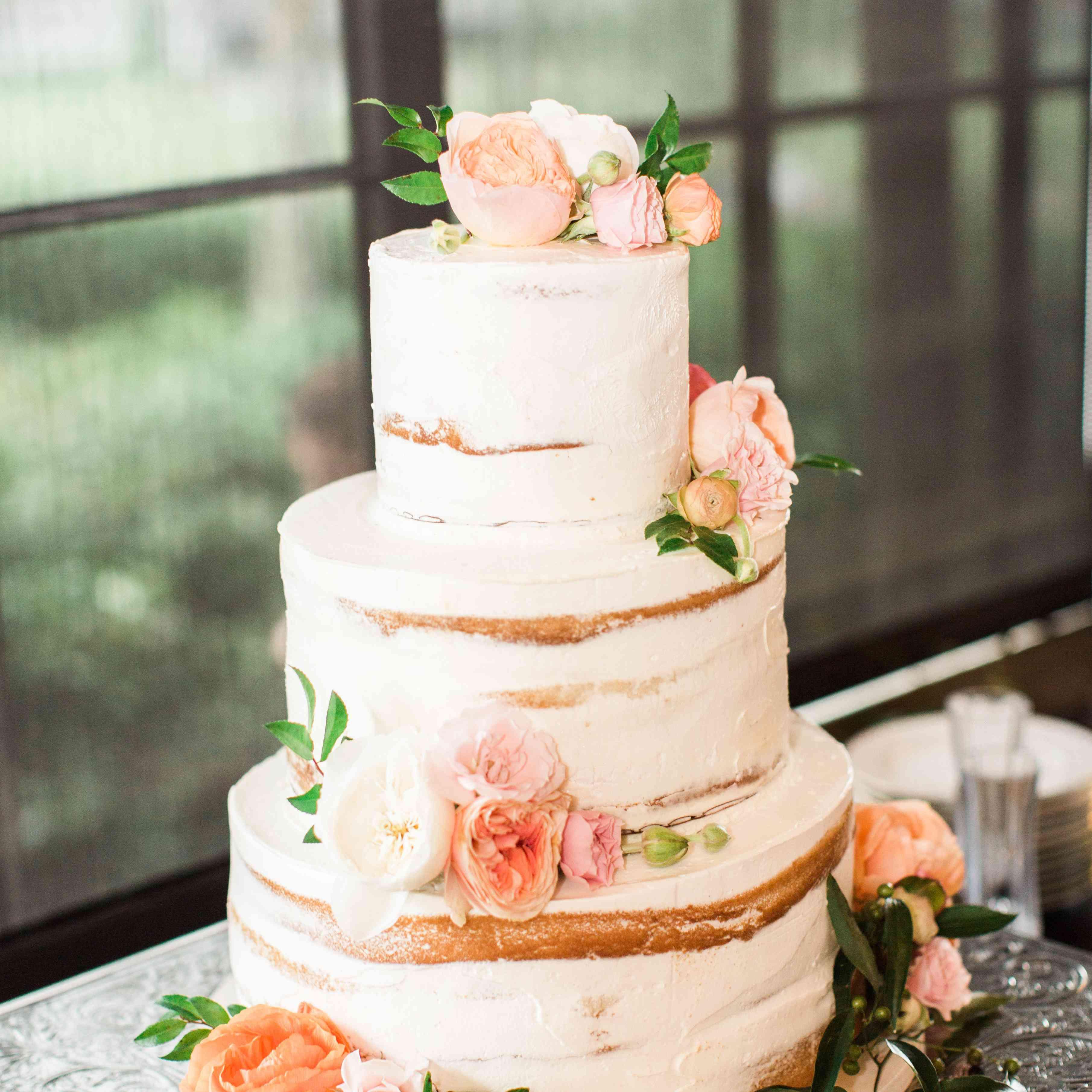 Peach hued naked cake