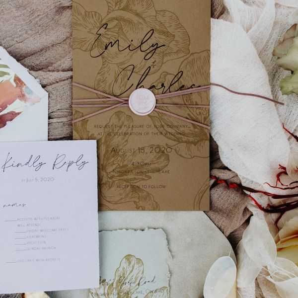 Boho chic wedding invitation suite with RSVP card