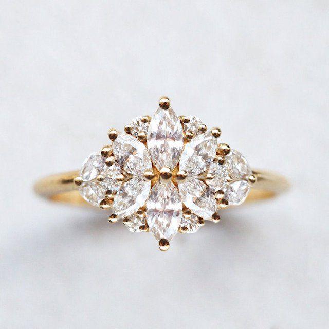 Capucinne Beatrice Diamond Marquise Cluster Engagement Ring