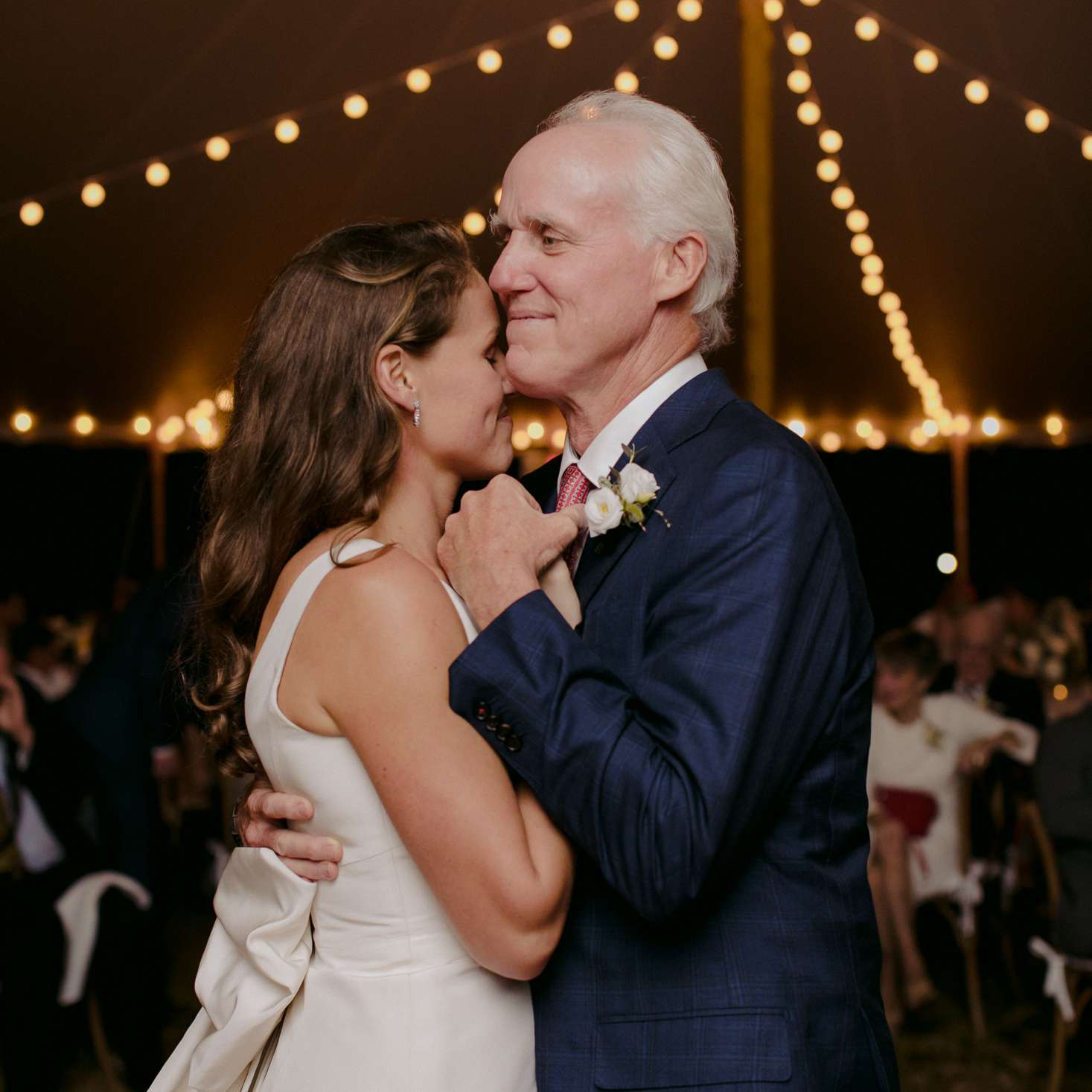 at-home rustic massachusetts wedding, bride and father dancing