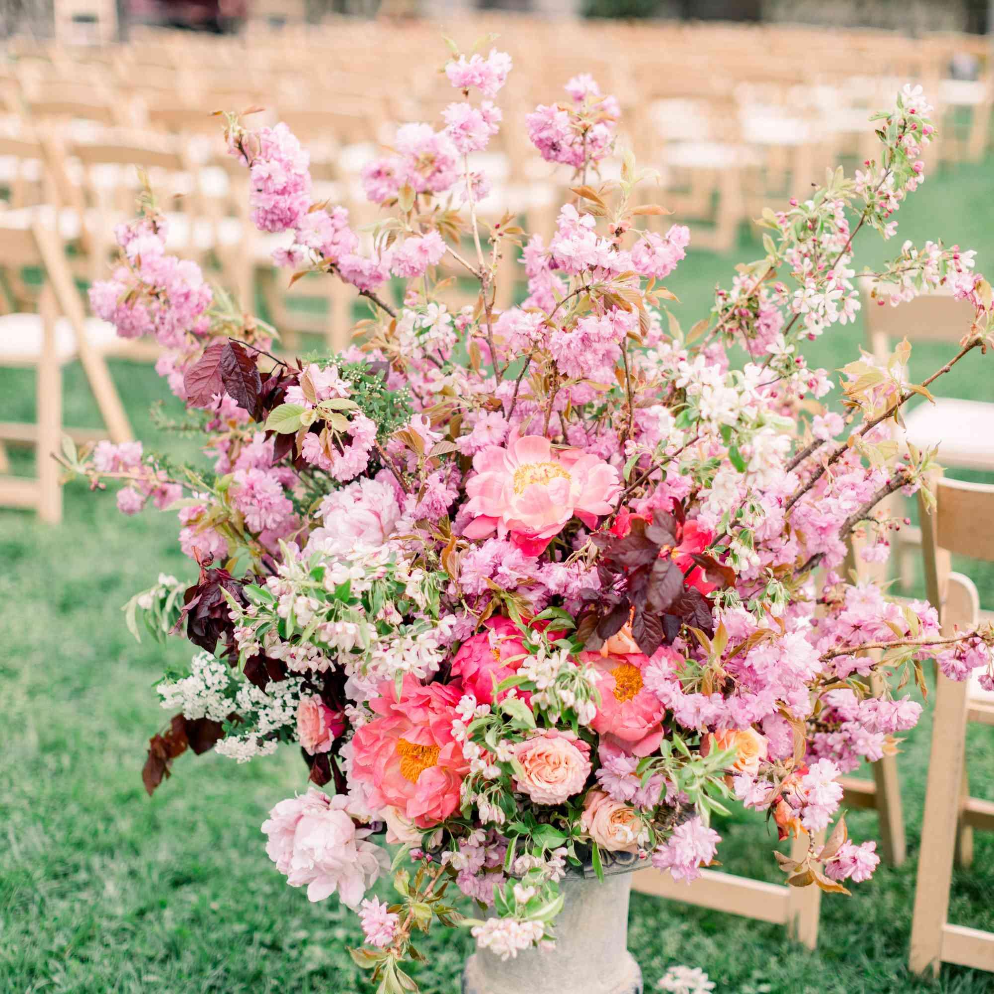 blush hued wedding florals