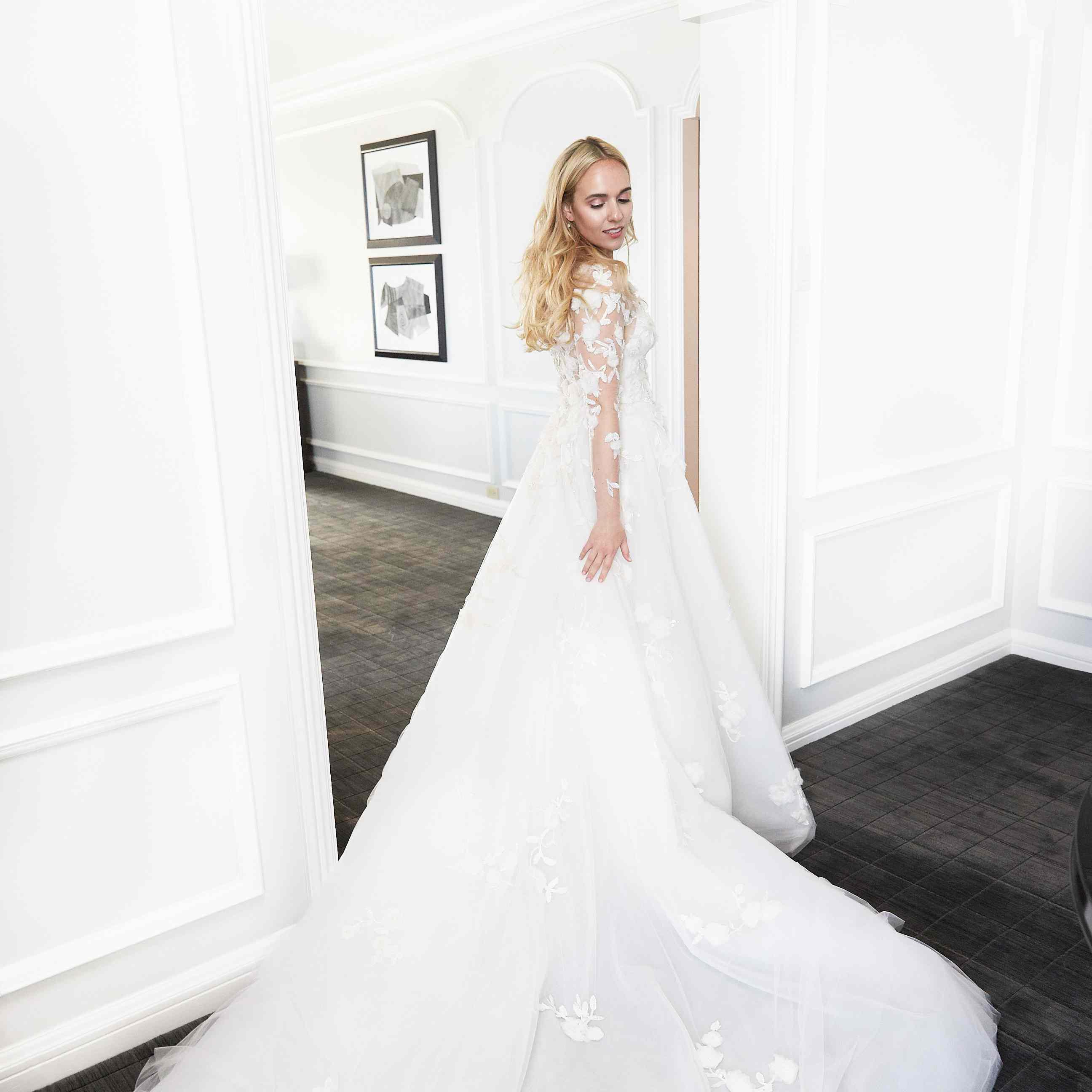 Bride in Custom Marchesa