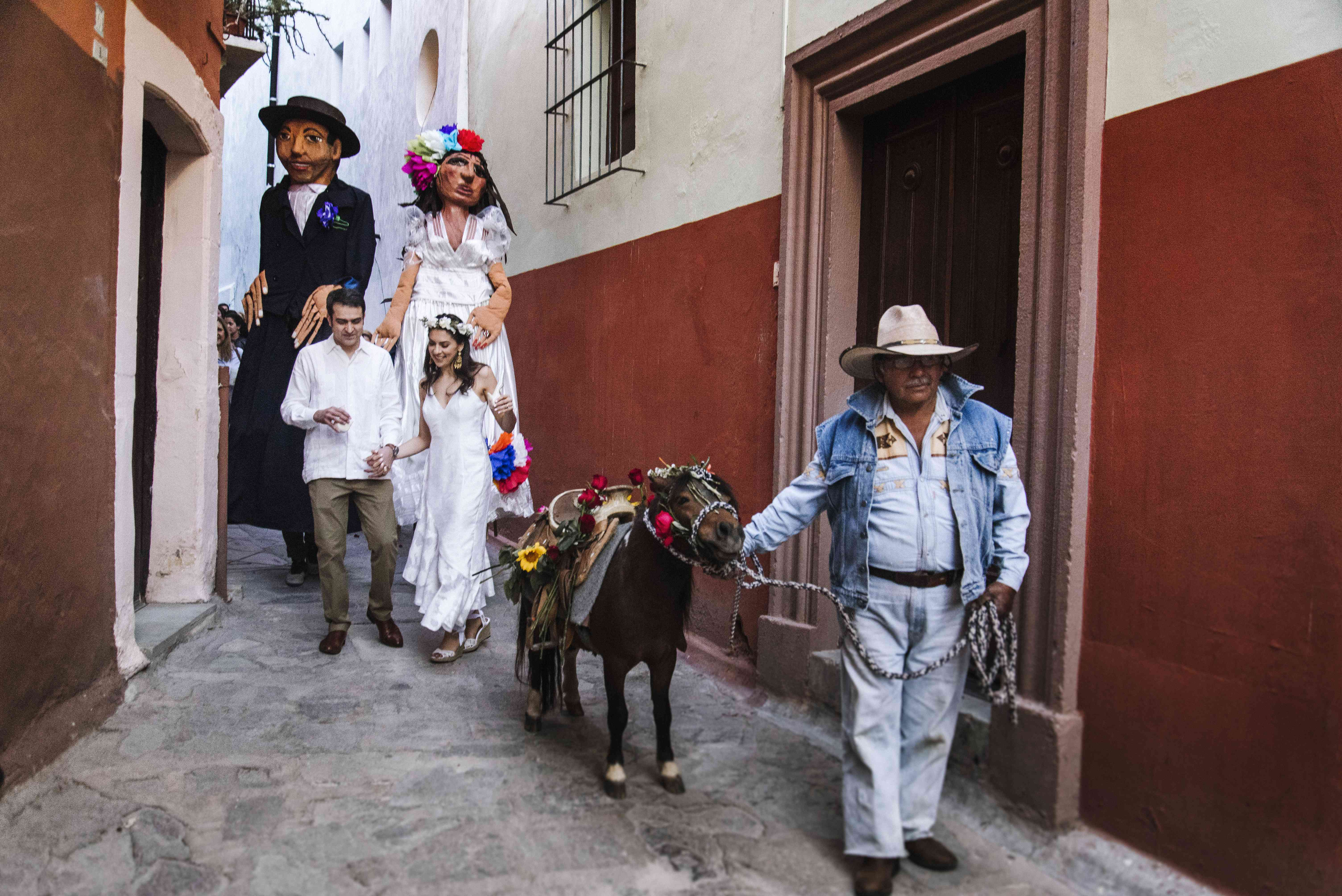 bride and groom and tequila donkey