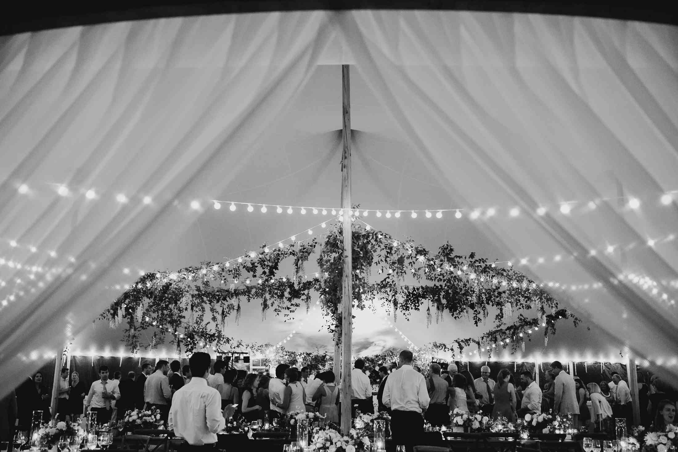 at-home rustic massachusetts wedding, guests under reception tent