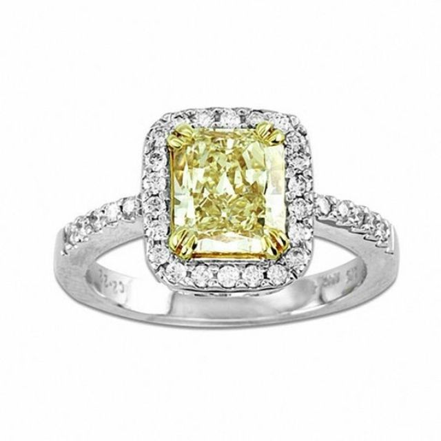 Zales Radiant-Cut Yellow and White Diamond Engagement Ring