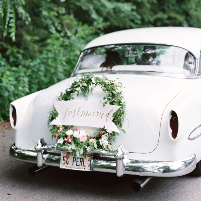 Wedding Getaway Car with Wreath