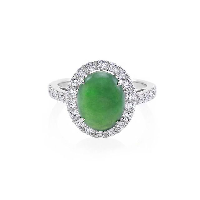 HN Jewelry Natural Type A Jade and Diamond Ring in 18k White Gold