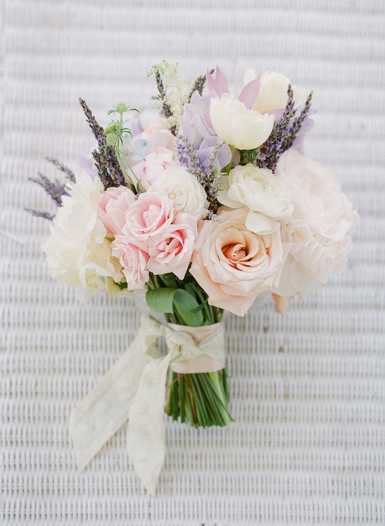 Bouquet of roses, lavender, peonies and ranunculus