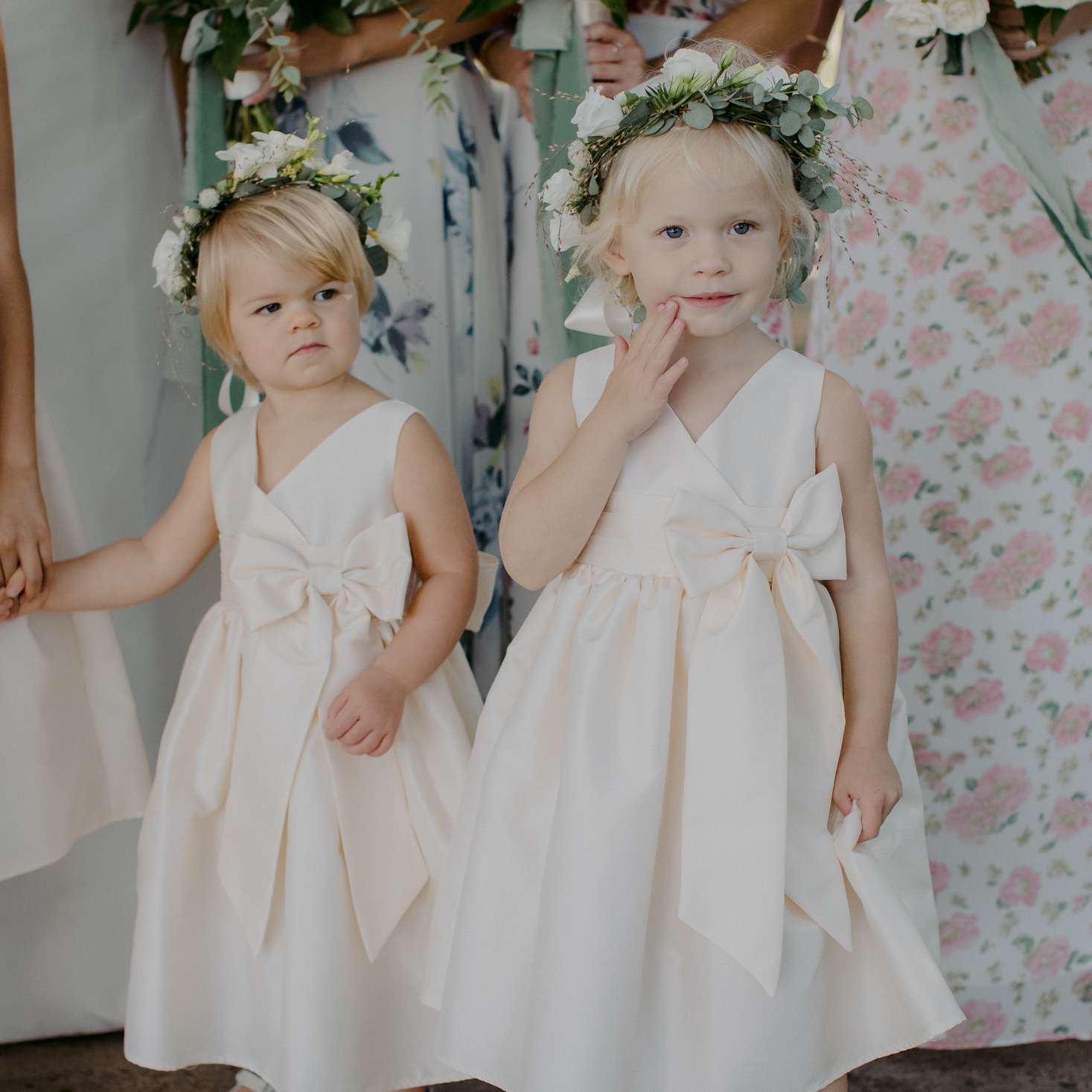 at-home rustic massachusetts wedding, flower girls