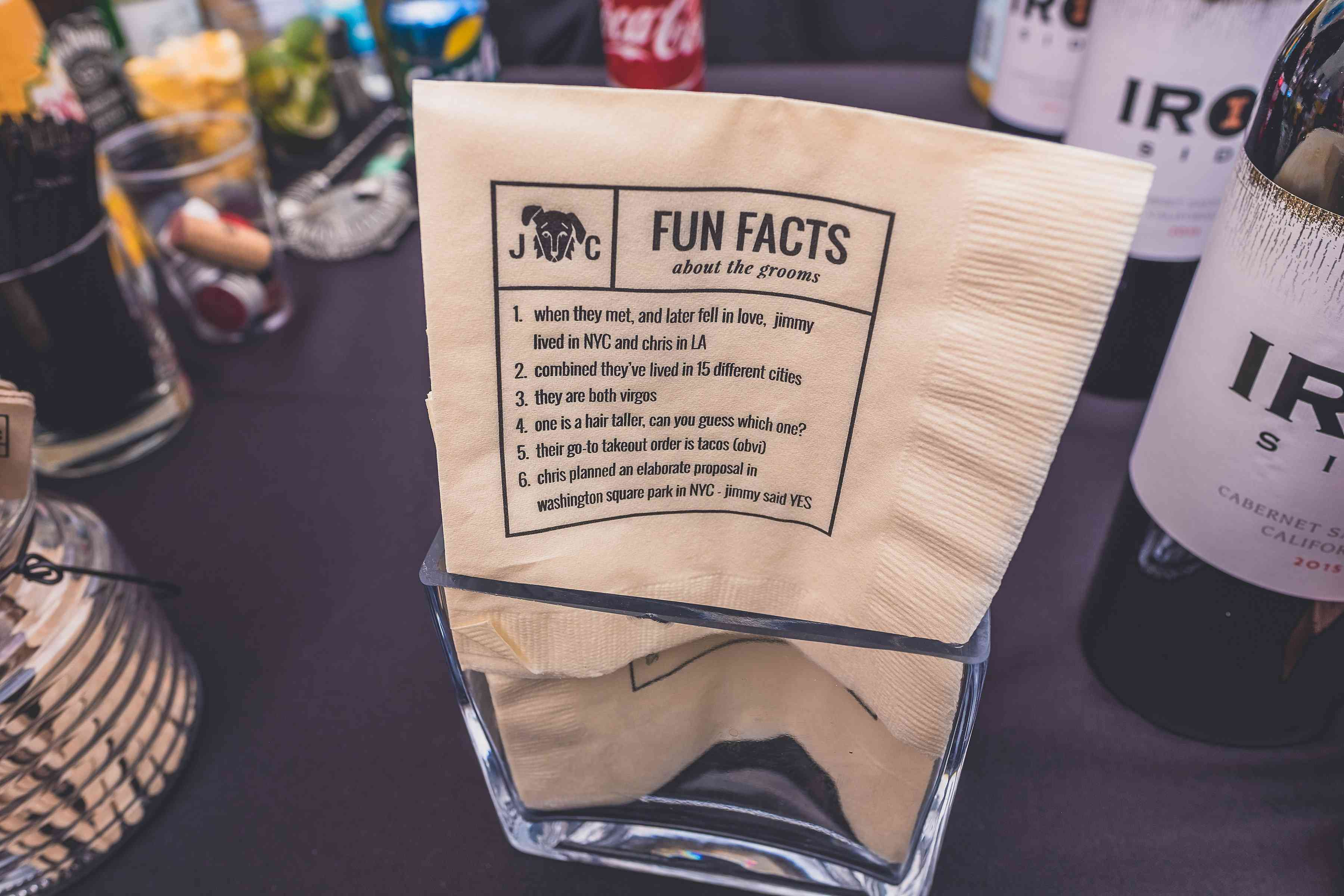 Napkin with fun facts