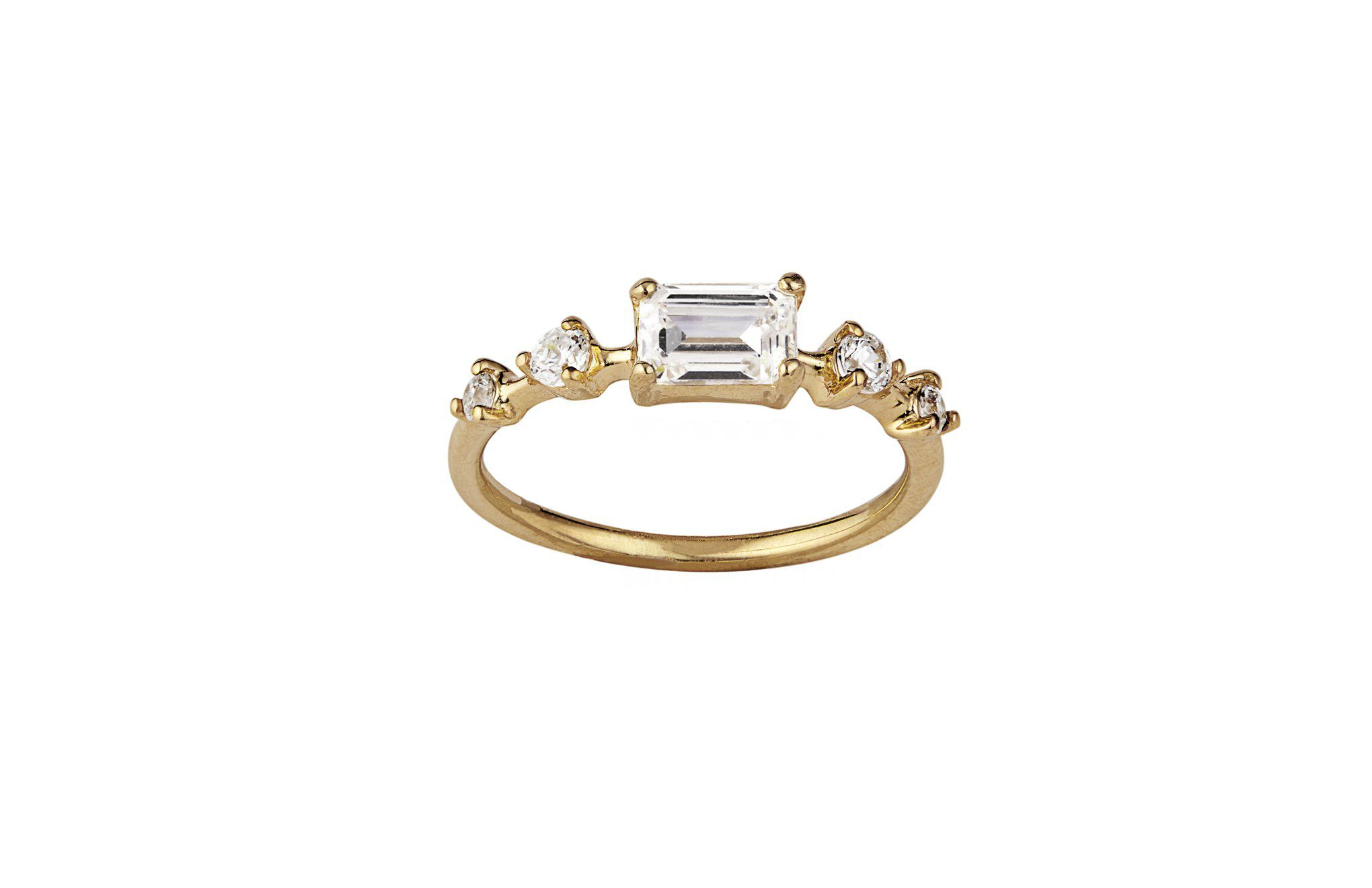 Simple emerald cut engagement ring