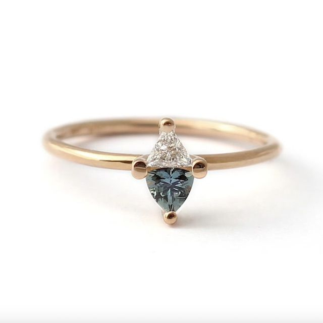 Artemer Sapphire Engagement Ring, Sapphire & Diamond Ring, Triangle Teal Sapphire Ring