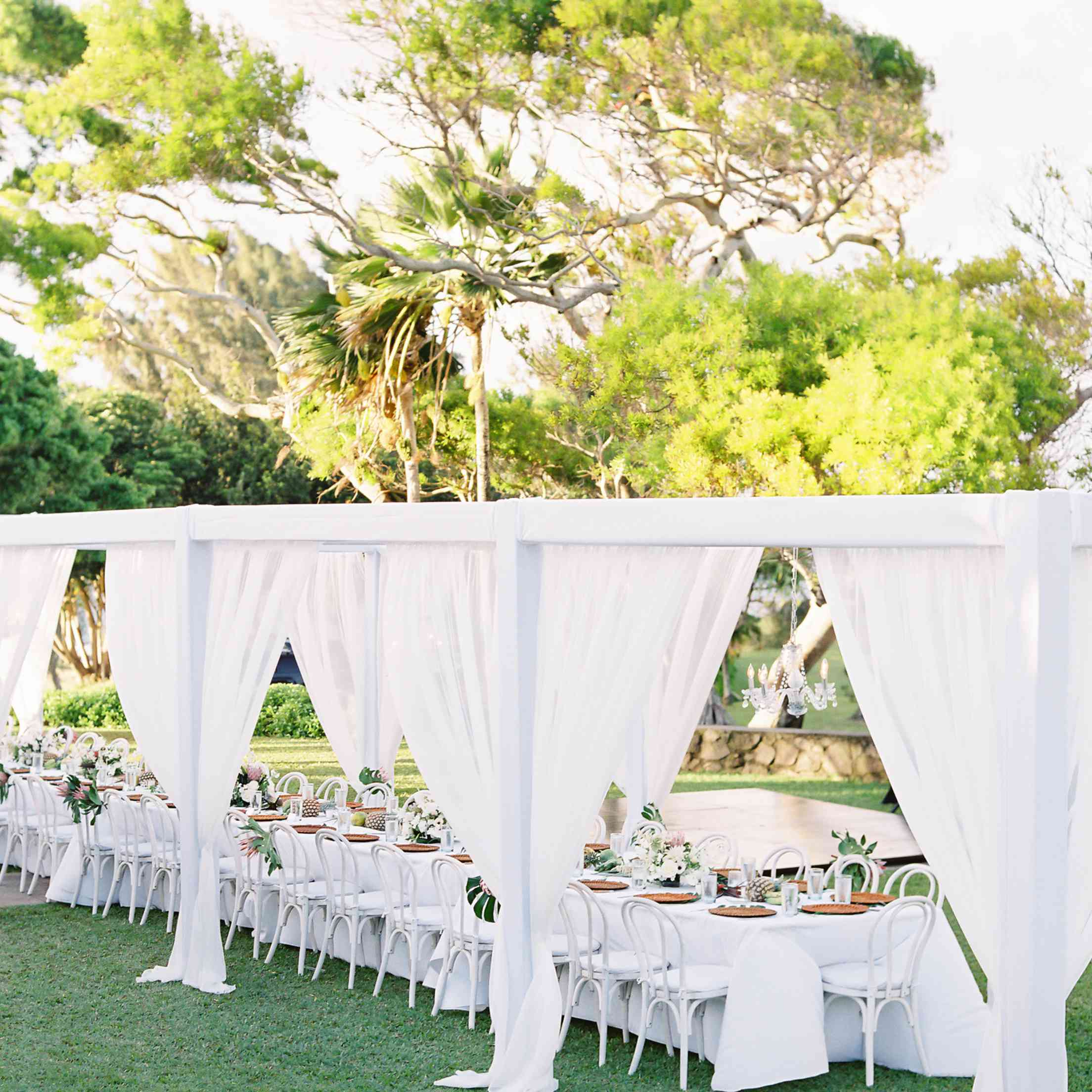 tropical maui wedding, long covered white dining table