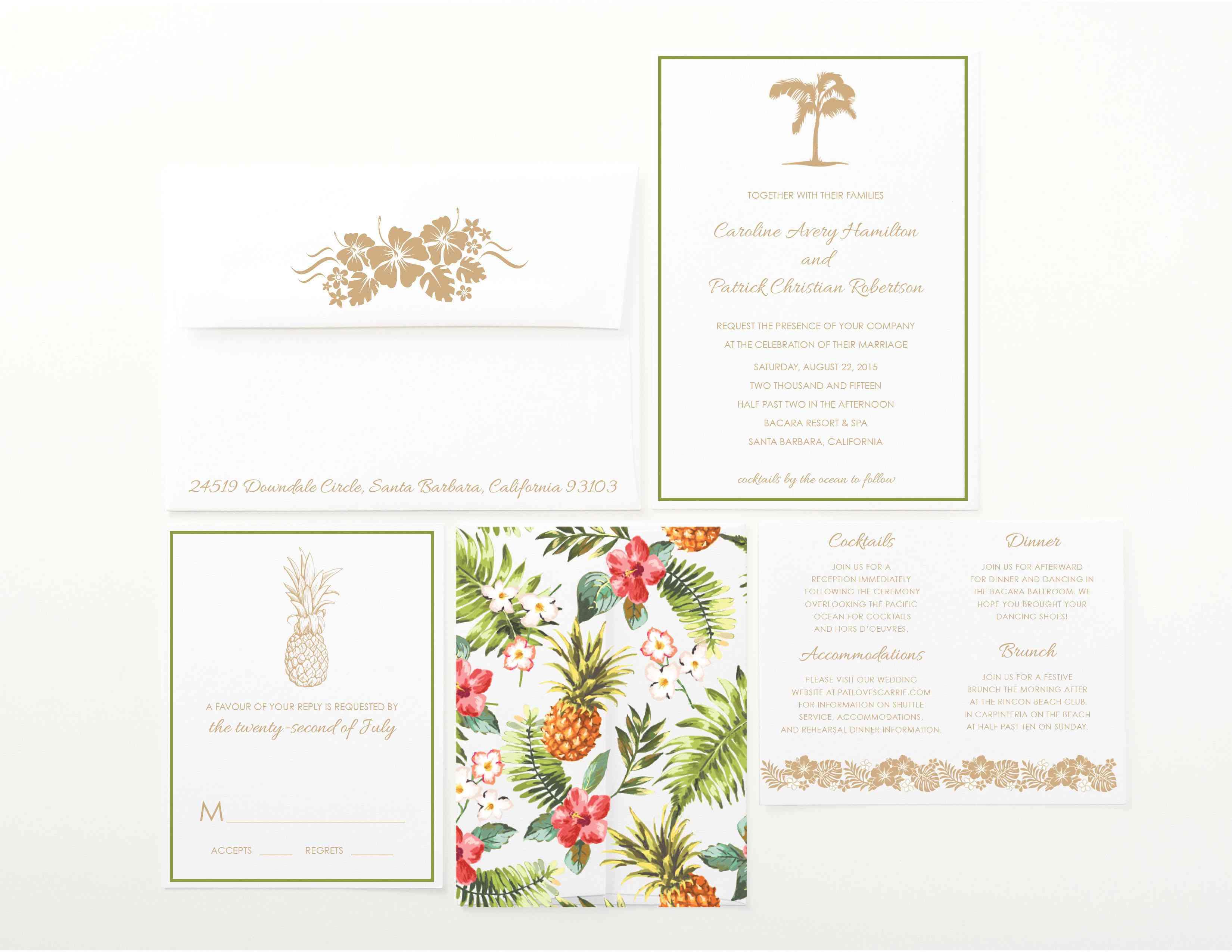Bright and fun tropical wedding invitations