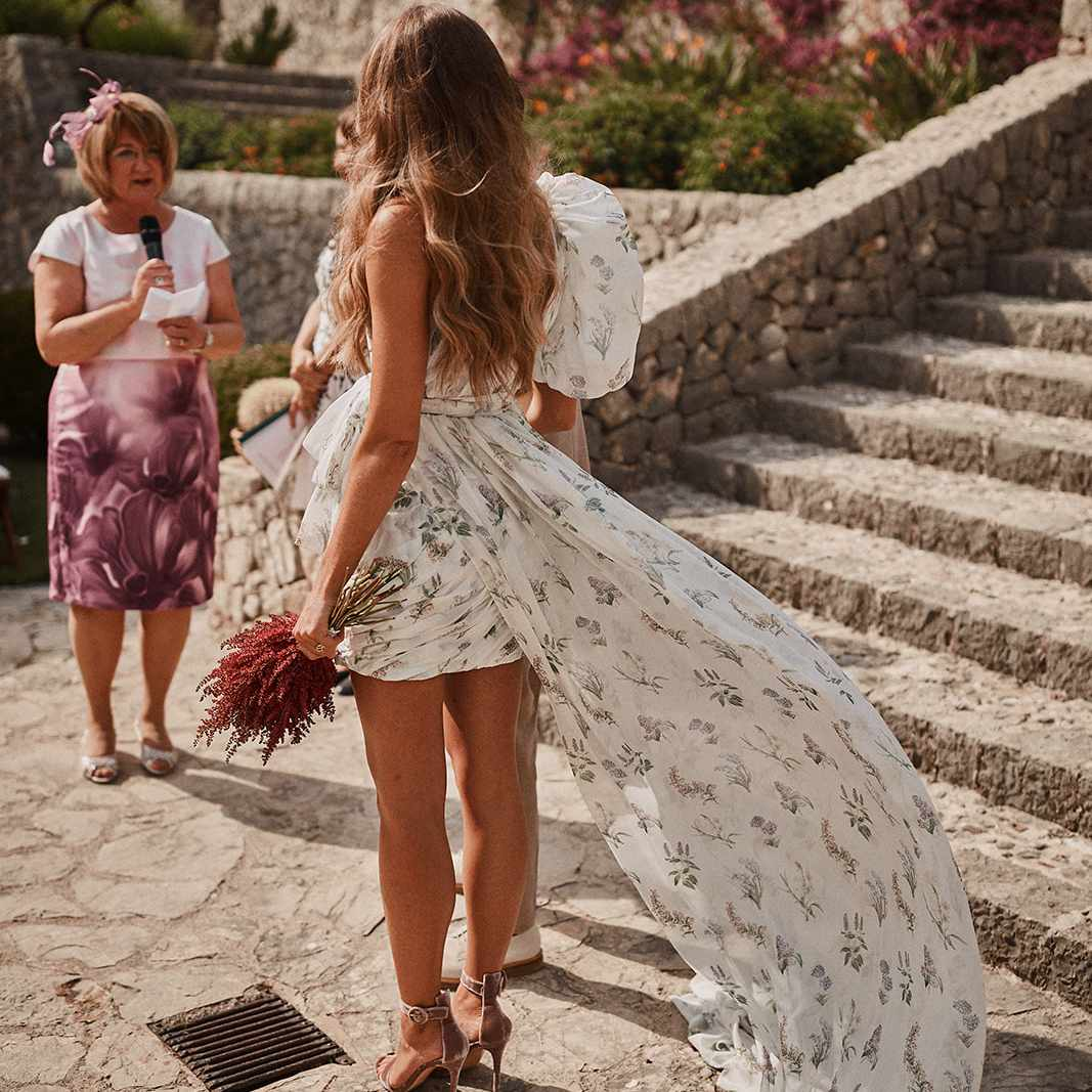 Bride standing at altar during wedding ceremony