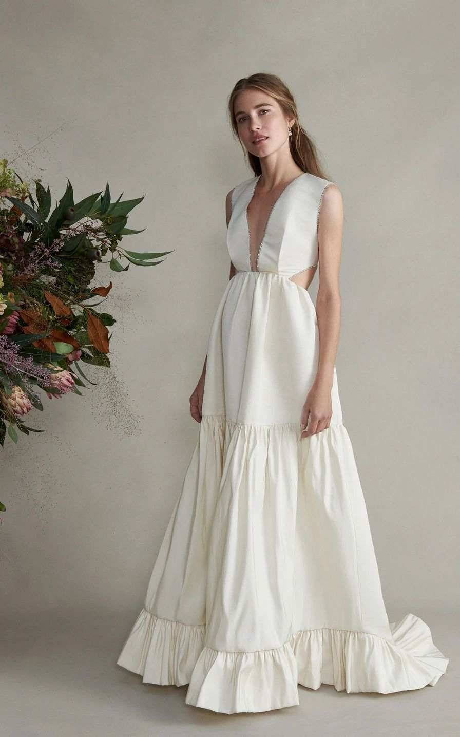 Markarian Guinevere gown featuring a plunging neckline