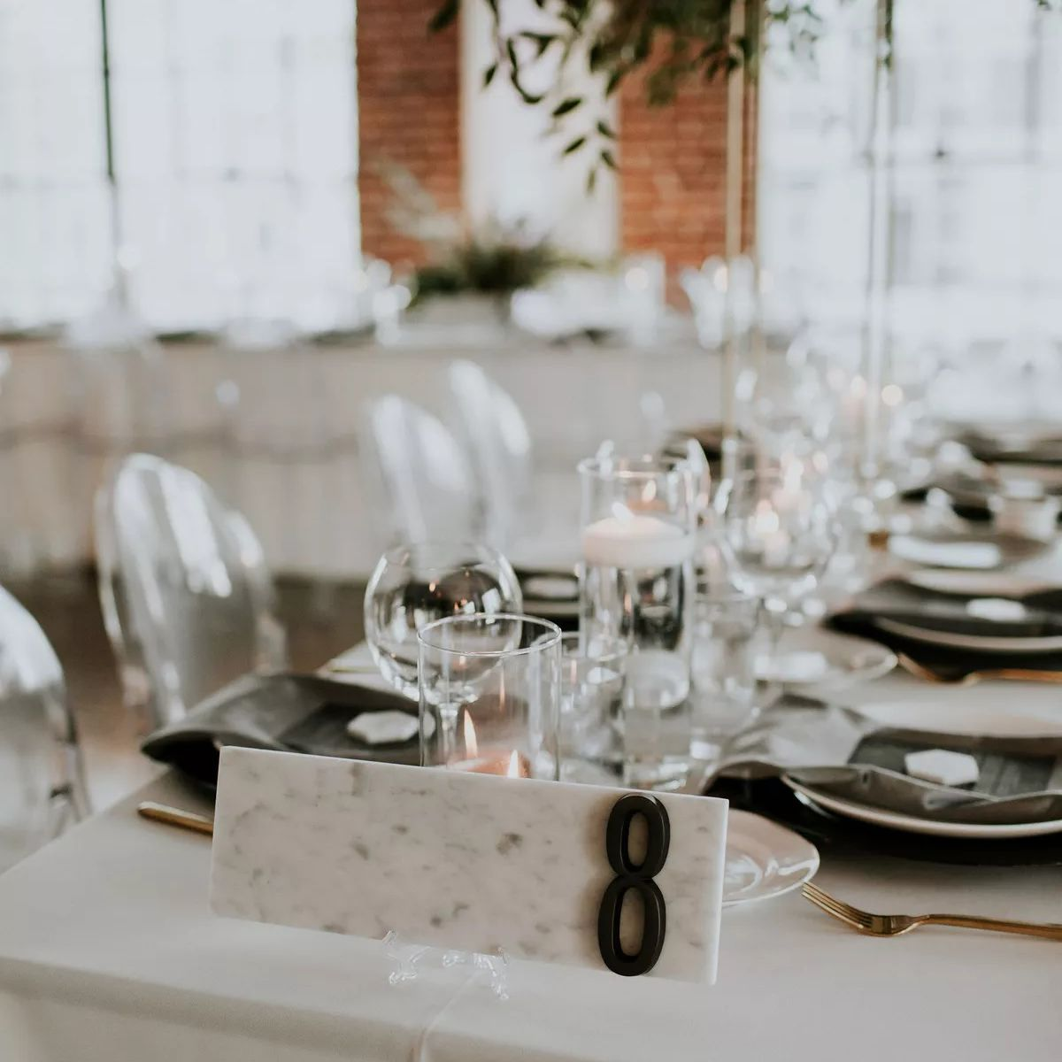 black and white marble table numbers