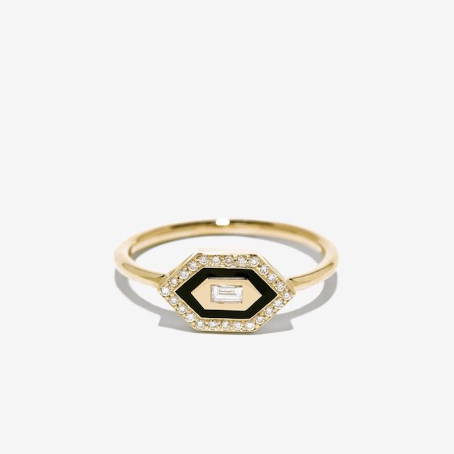 Azlee E/W Small Enamel Diamond Ring