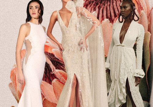 three bridal gowns designed by latinx designers