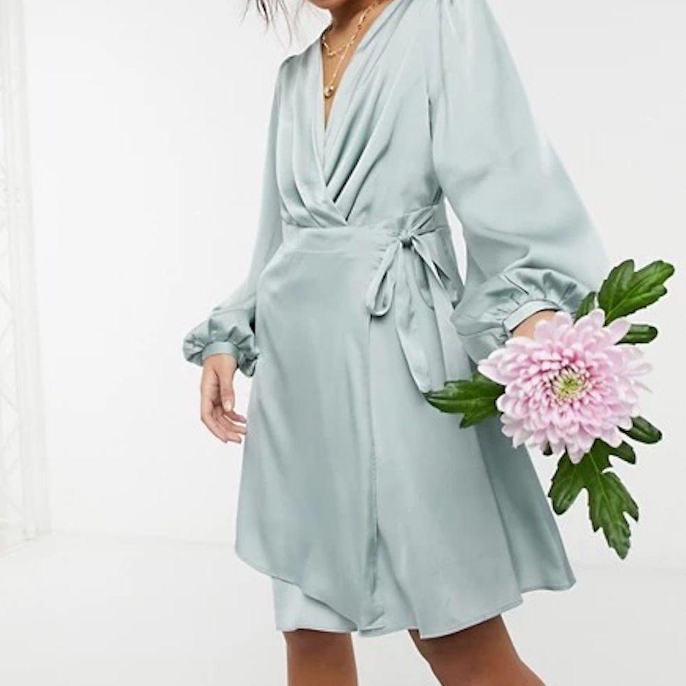 TFNC Petite Bridesmaid Satin Long Sleeve Wrap Front Mini Dress