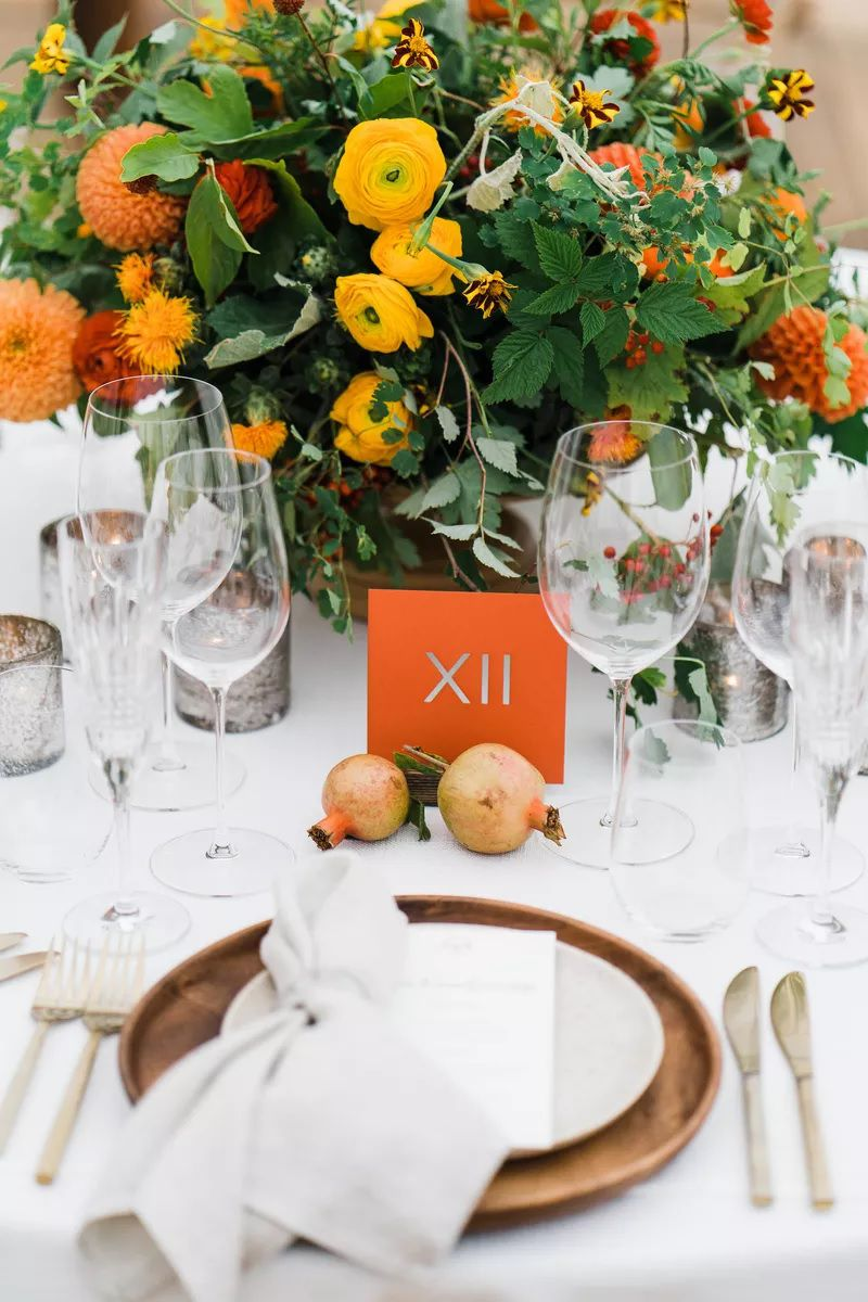 Bright orange table numbers with roman numerals