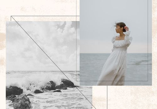 collage of bride and ocean