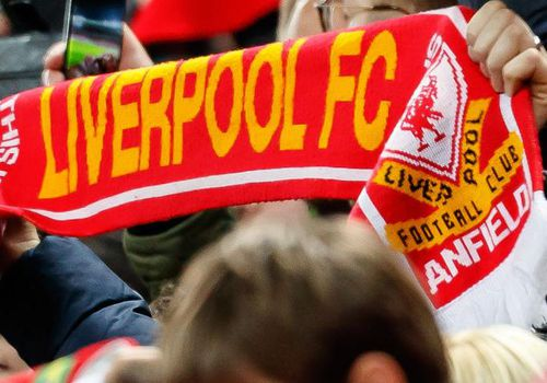 Supporters of Liverpool are seen during a match.
