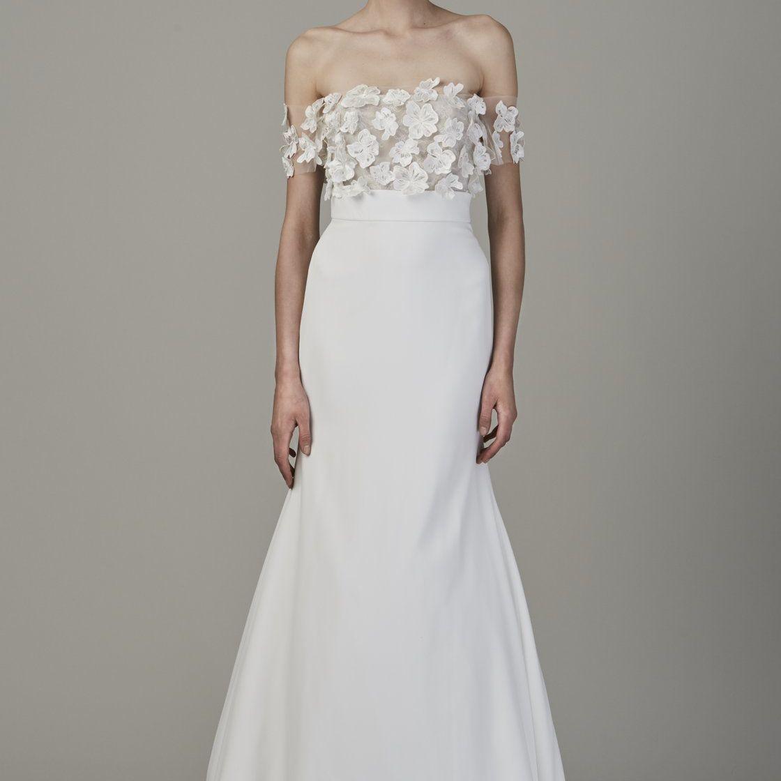 Model in Off the Shoulder Floral Applique Gown