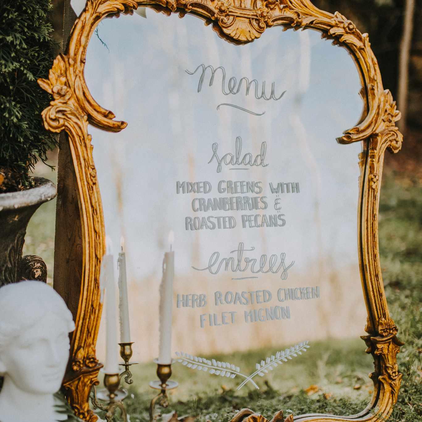 Gilded Mirror Wedding Menu