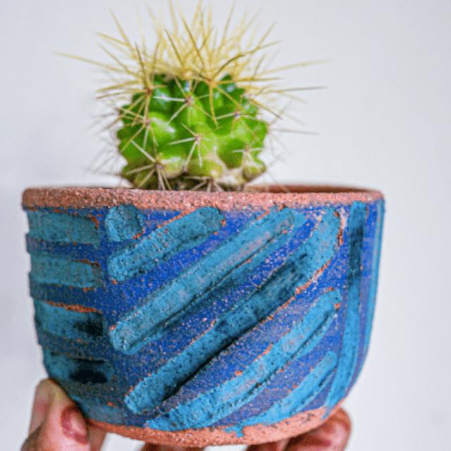 Deep Blues Carved Terracotta Planter
