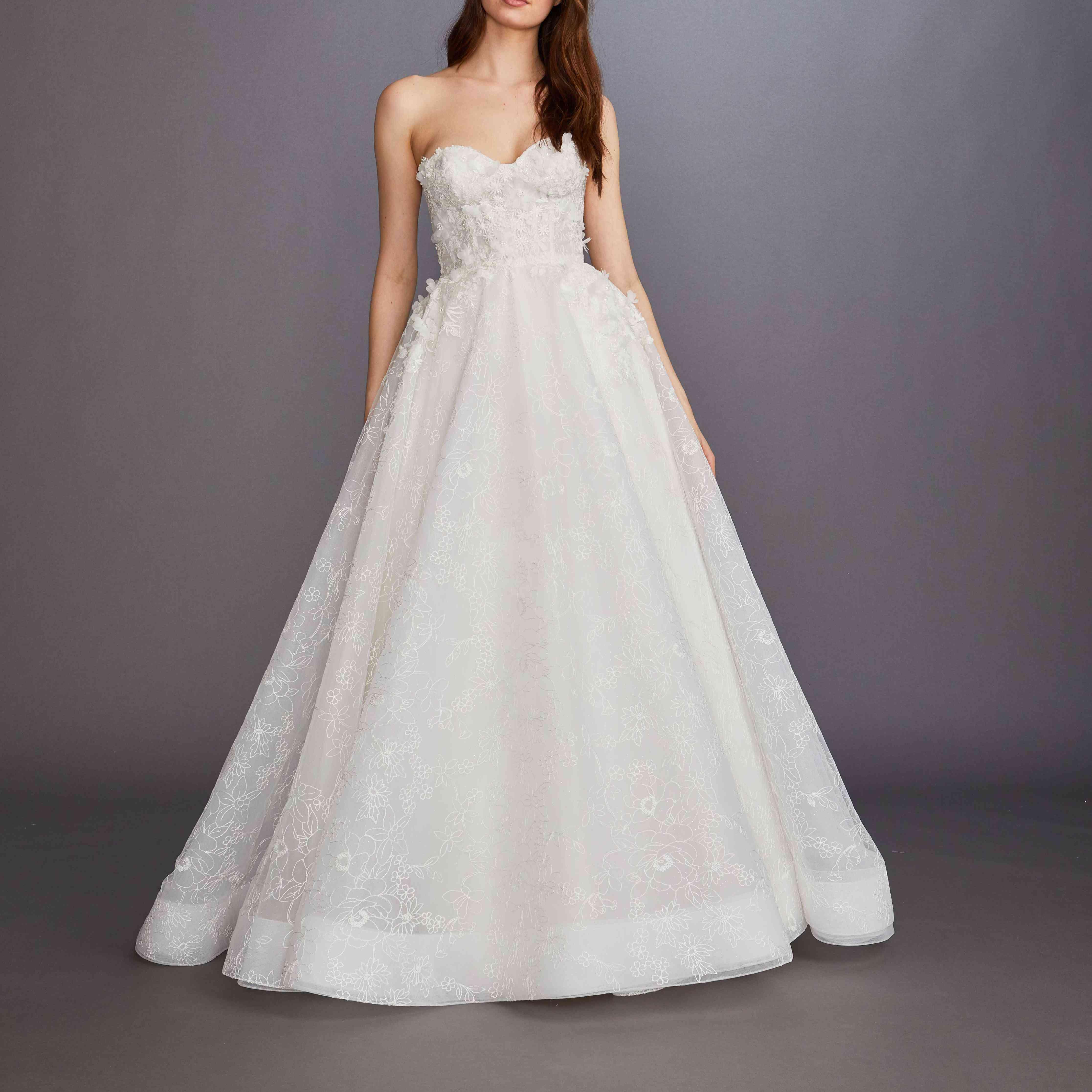 Marigold strapless wedding ball gown by Lazaro