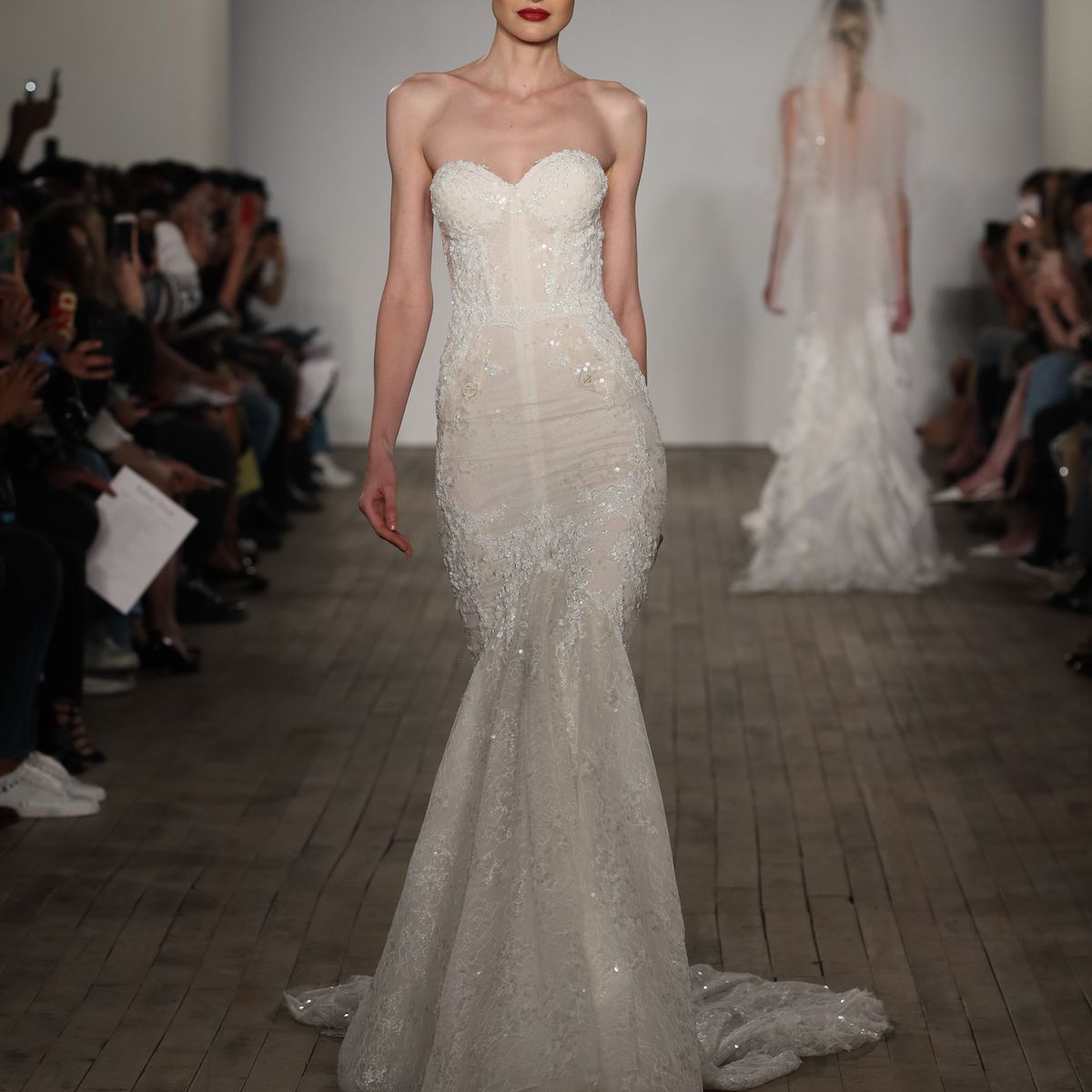 Model in embellished Inbal Dror VIP wedding dress