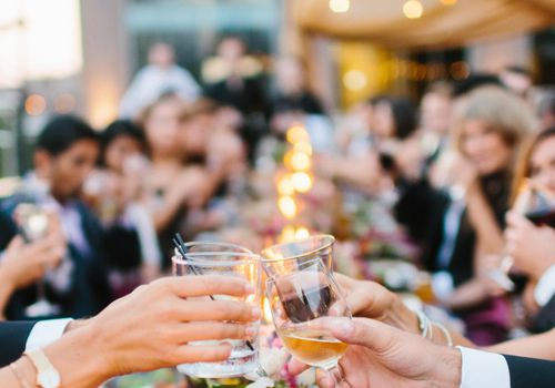 <p>Guests cheers at dinner</p>