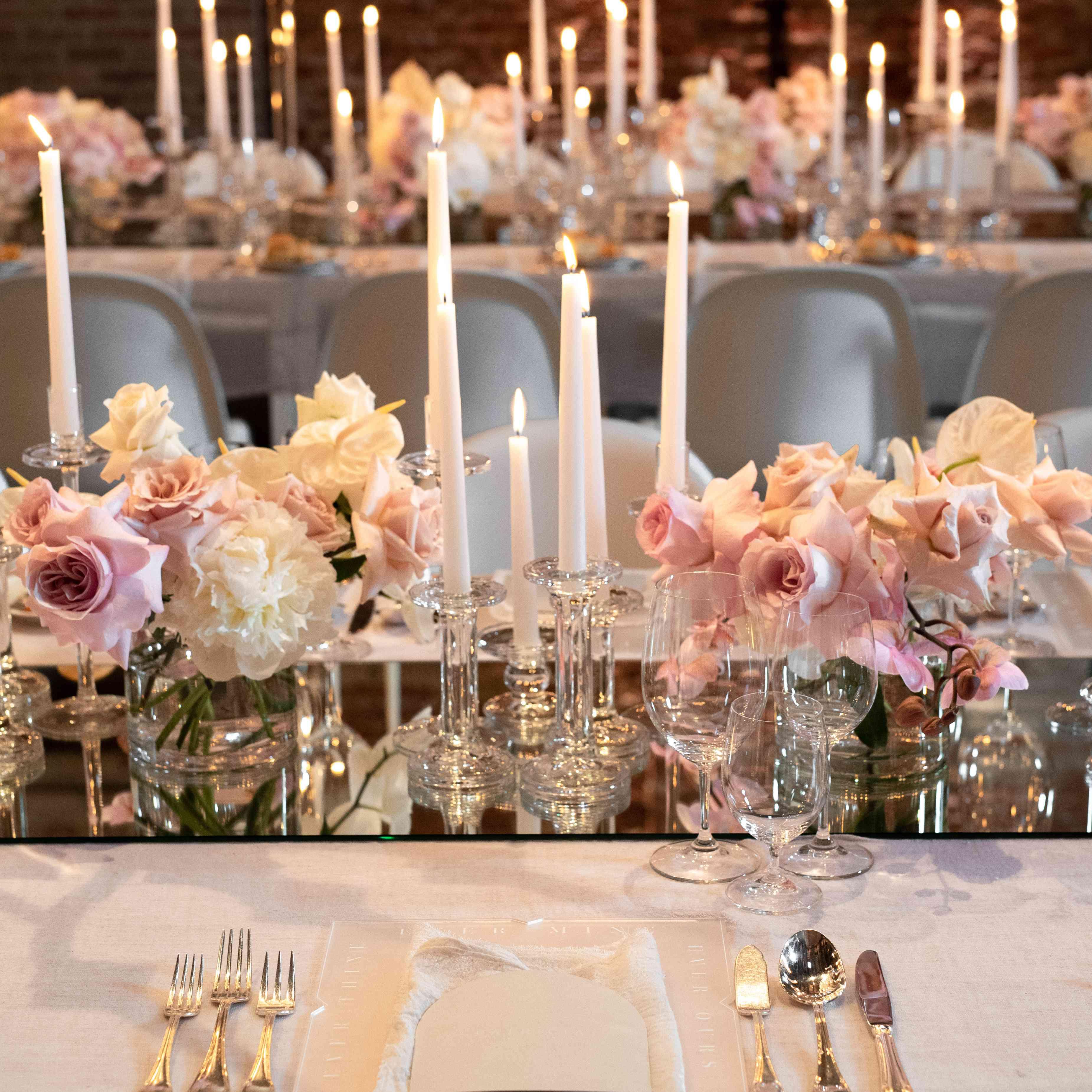 modern venice wedding, soft reception place settings