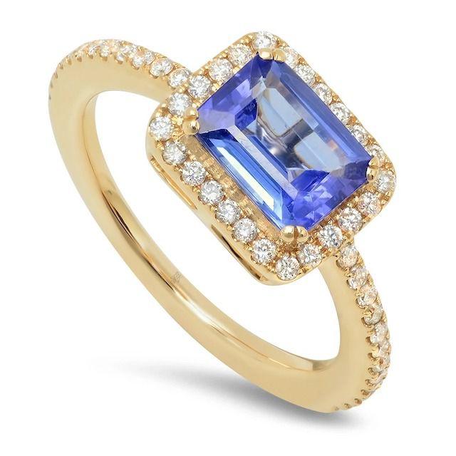 Beverley K Diamond Ring With Emerald Cut Tanzanite Center