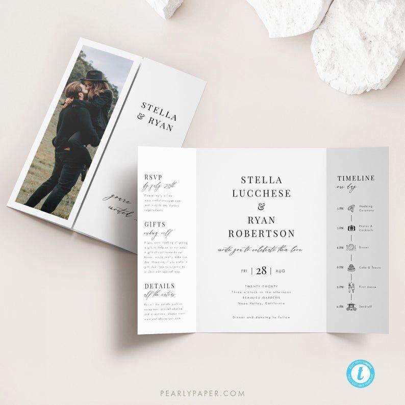 Pearly Paper Design Gatefold Wedding Invitation Template