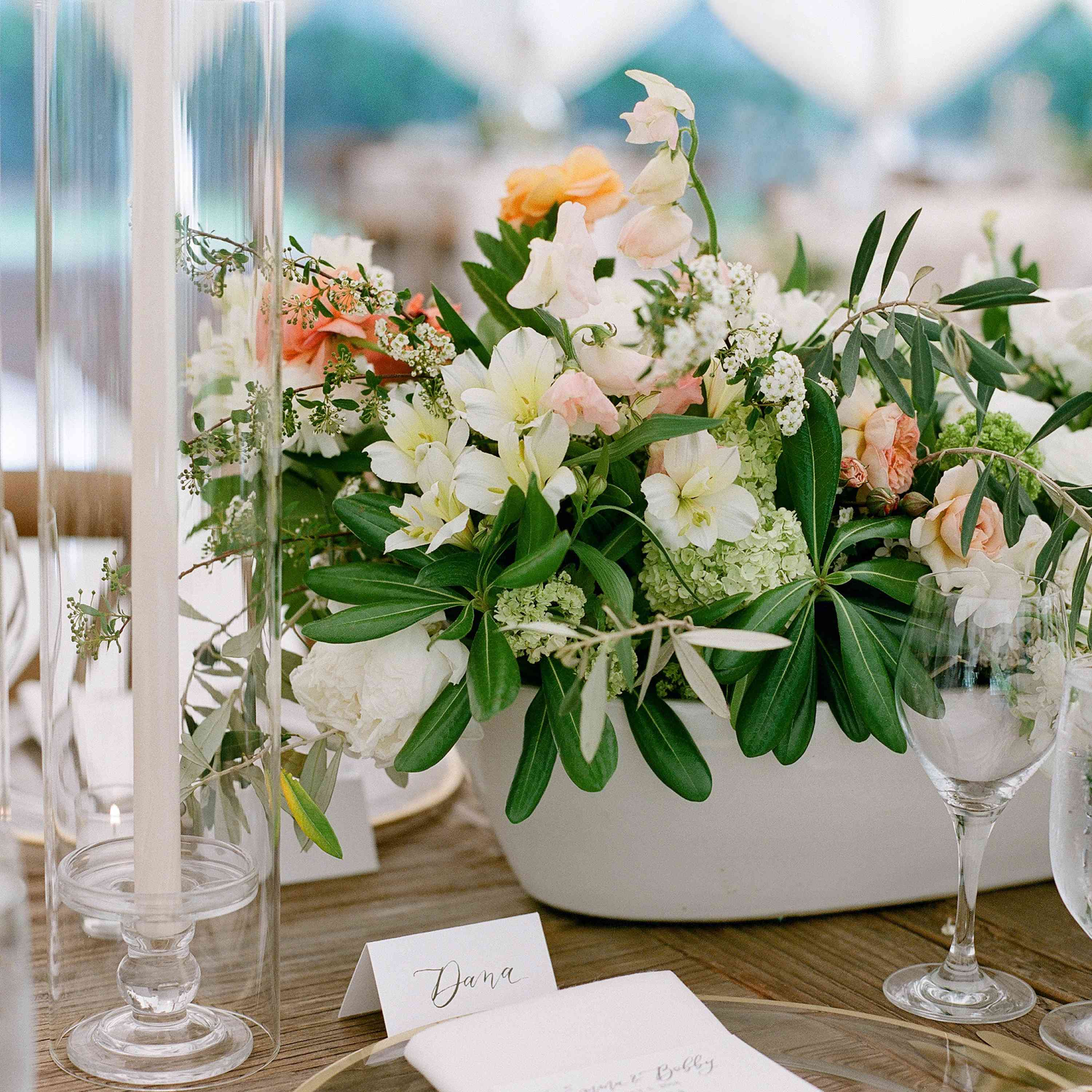 lily and ranunculus centerpiece