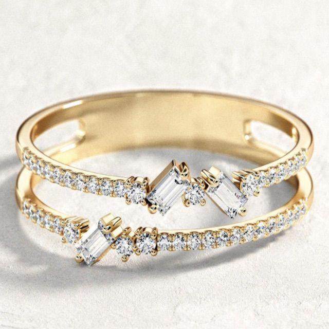 BocajNarima Double Baguette Ring / Baguette Diamond Ring / Round And Baguette Diamond Ring/ Double Wedding Band / Double Baguette Ring