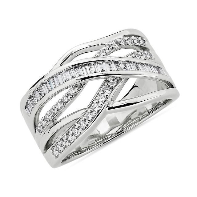 Blue Nile Round and Baguette Diamond Crossover Fashion Ring