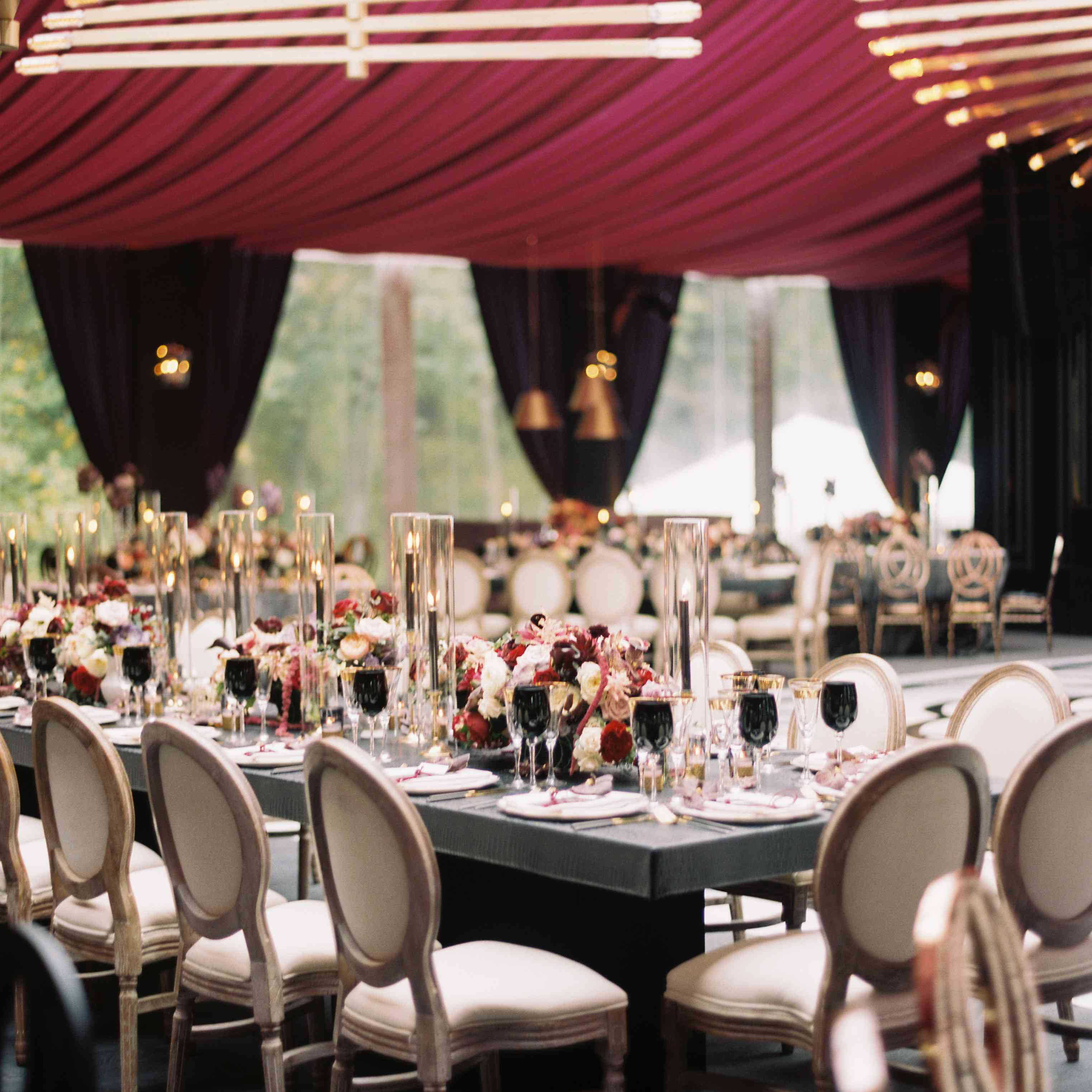 Reception tables with custom chandeliers