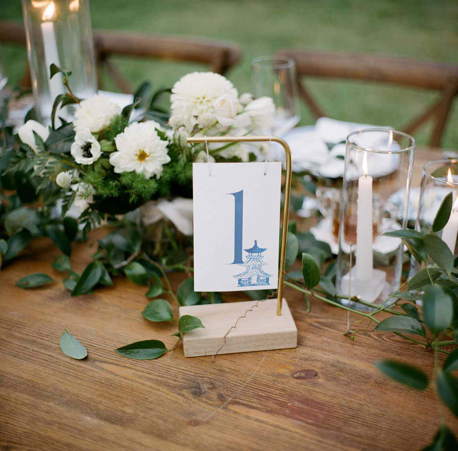Hanging wedding table number