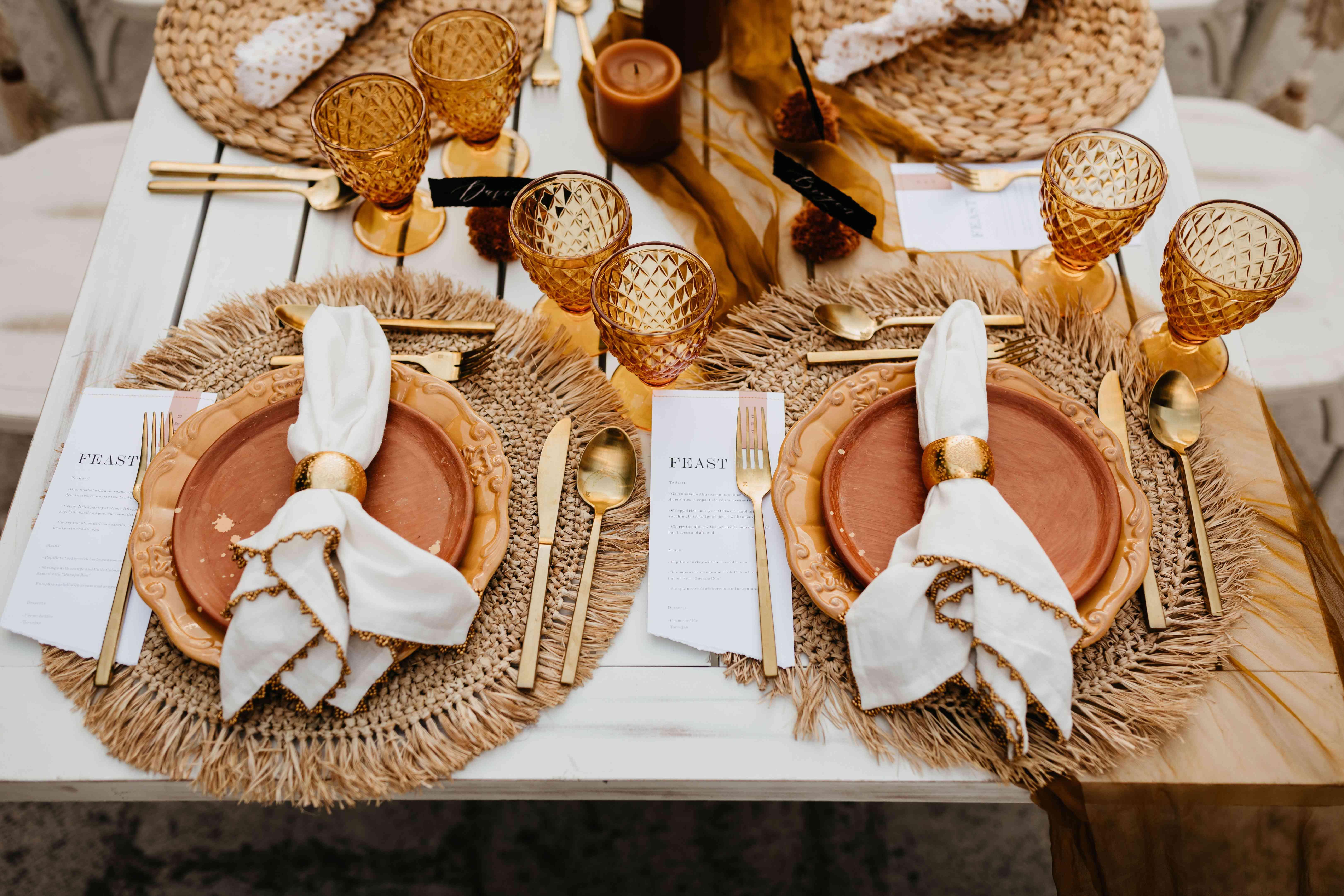 Terracotta fall wedding reception table